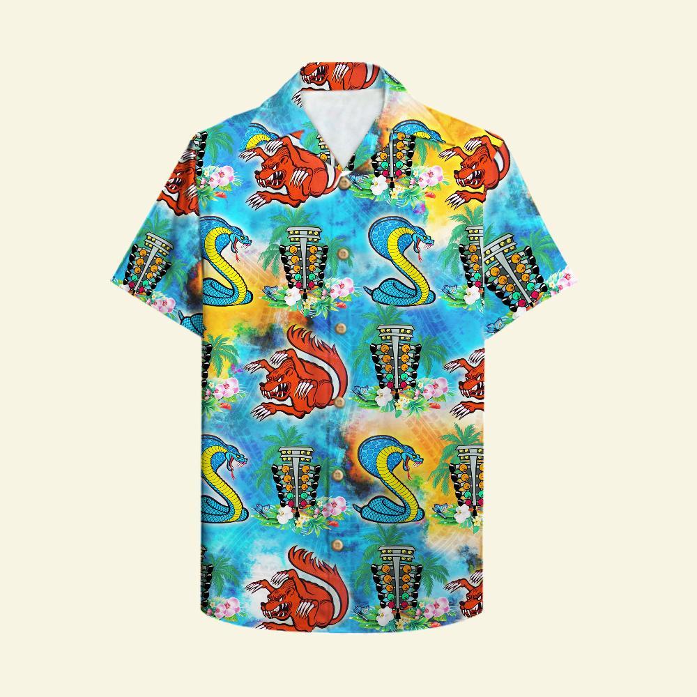 Drag Racing snake and mongoose beach floral Hawaiian Shirt