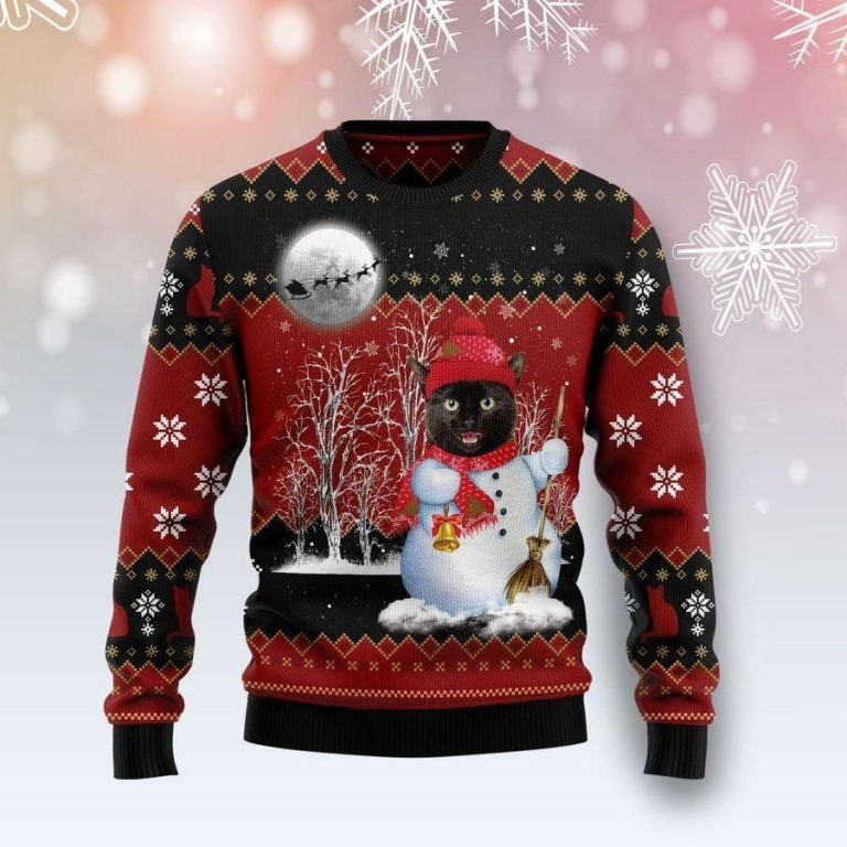 Black Cat Snowman Ugly Christmas Sweater