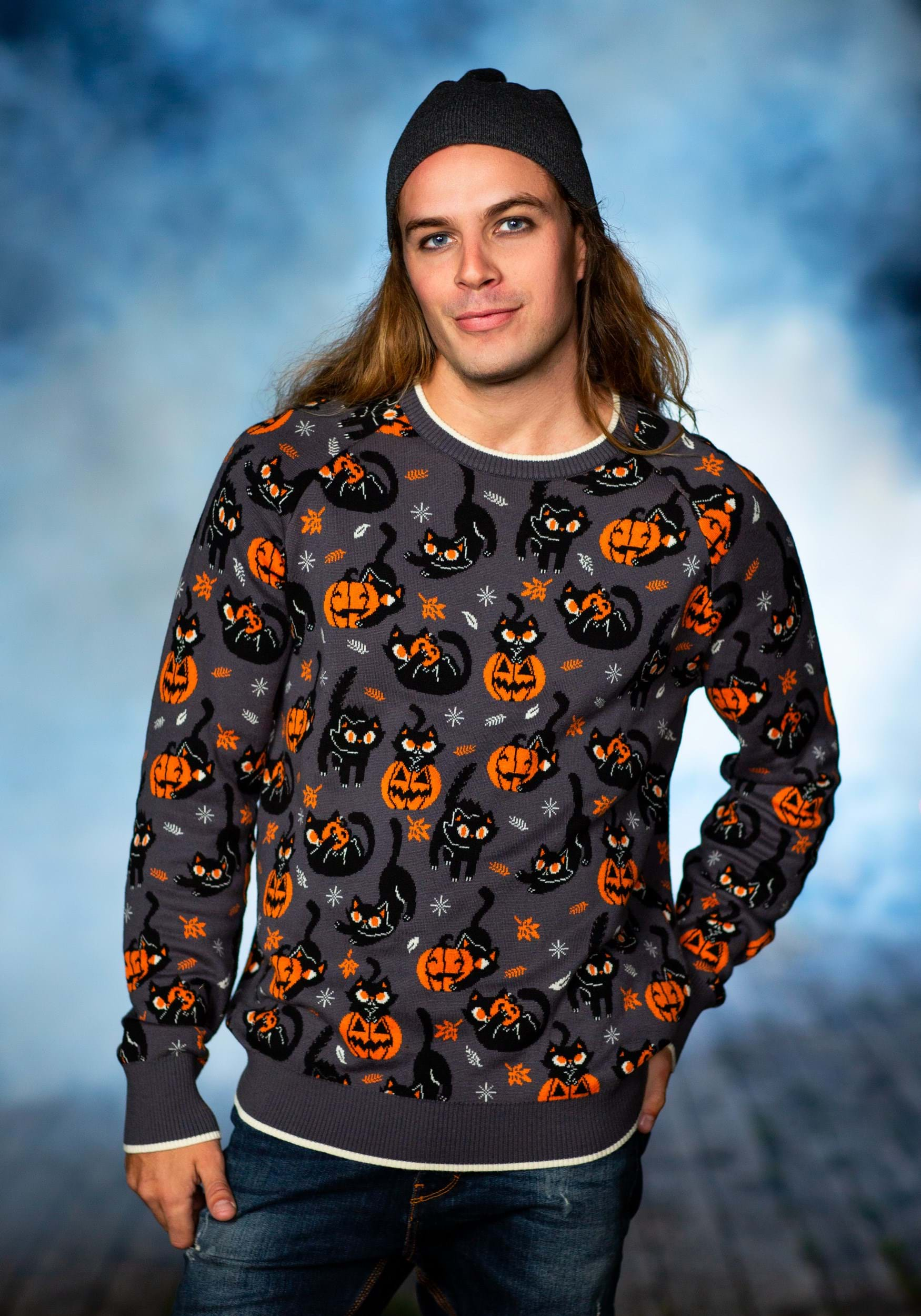 Quirky Kitty Halloween Sweater