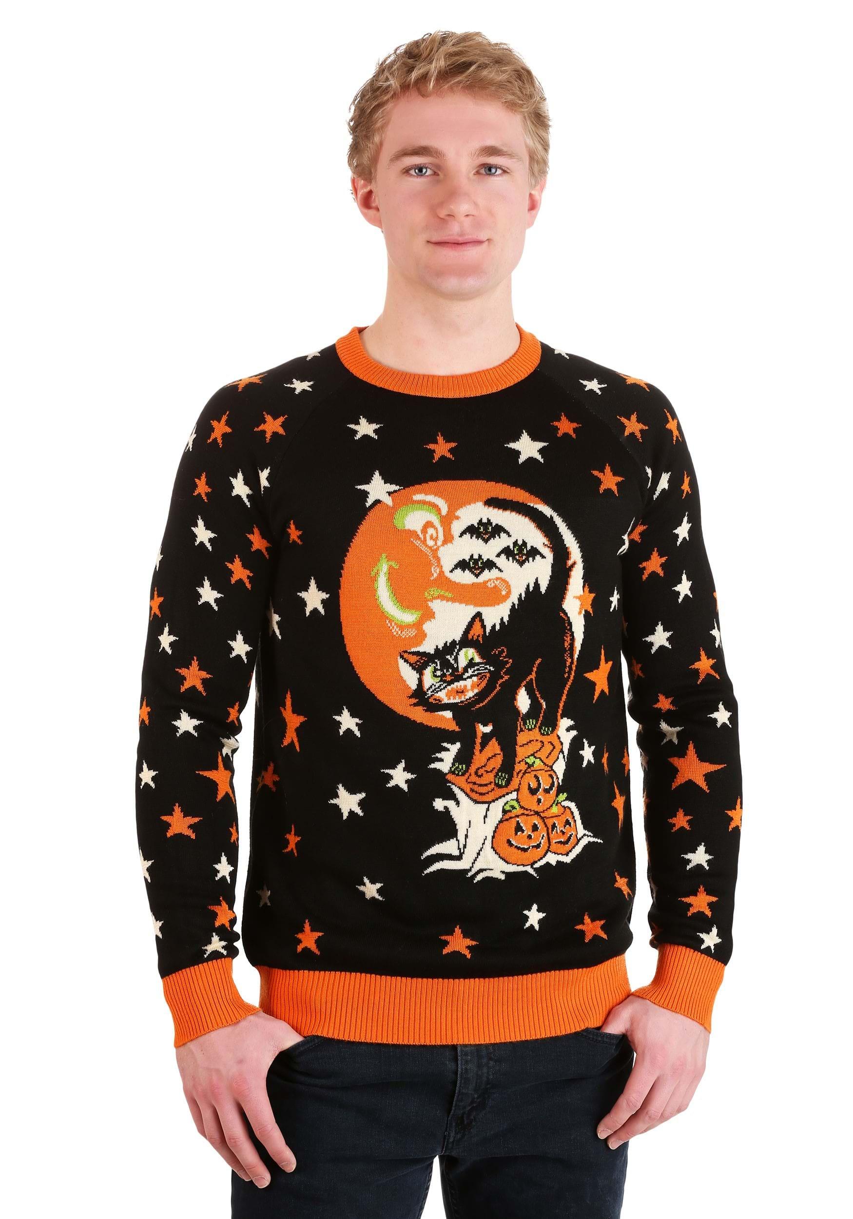 Vintage Halloween Cat Halloween Sweater