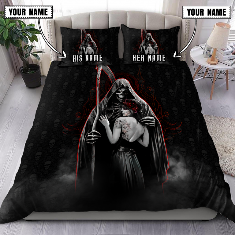 Couple Skull Death And Lover Customize Name Bedding Set