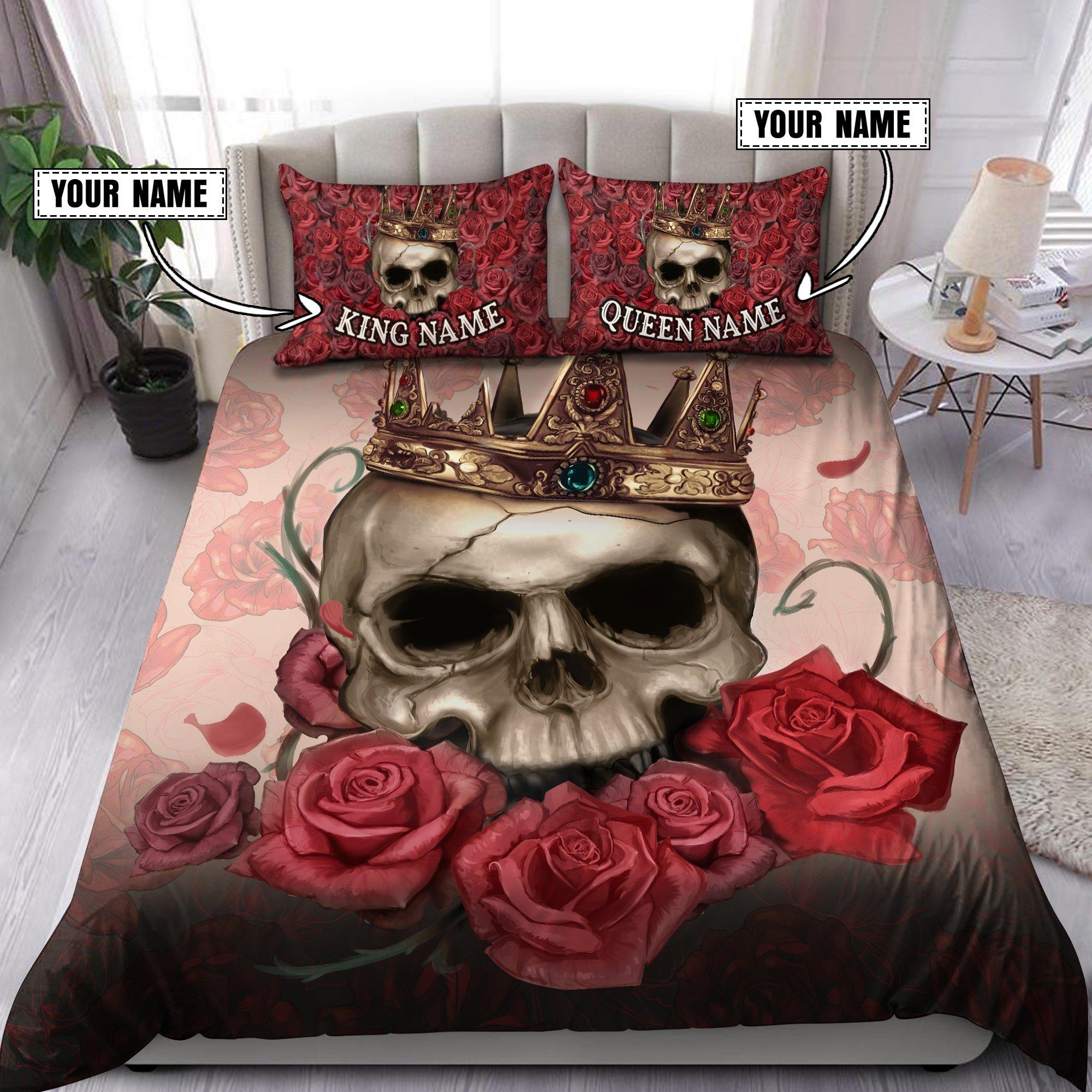 Couple Skull Art Customize Name Bedding Set