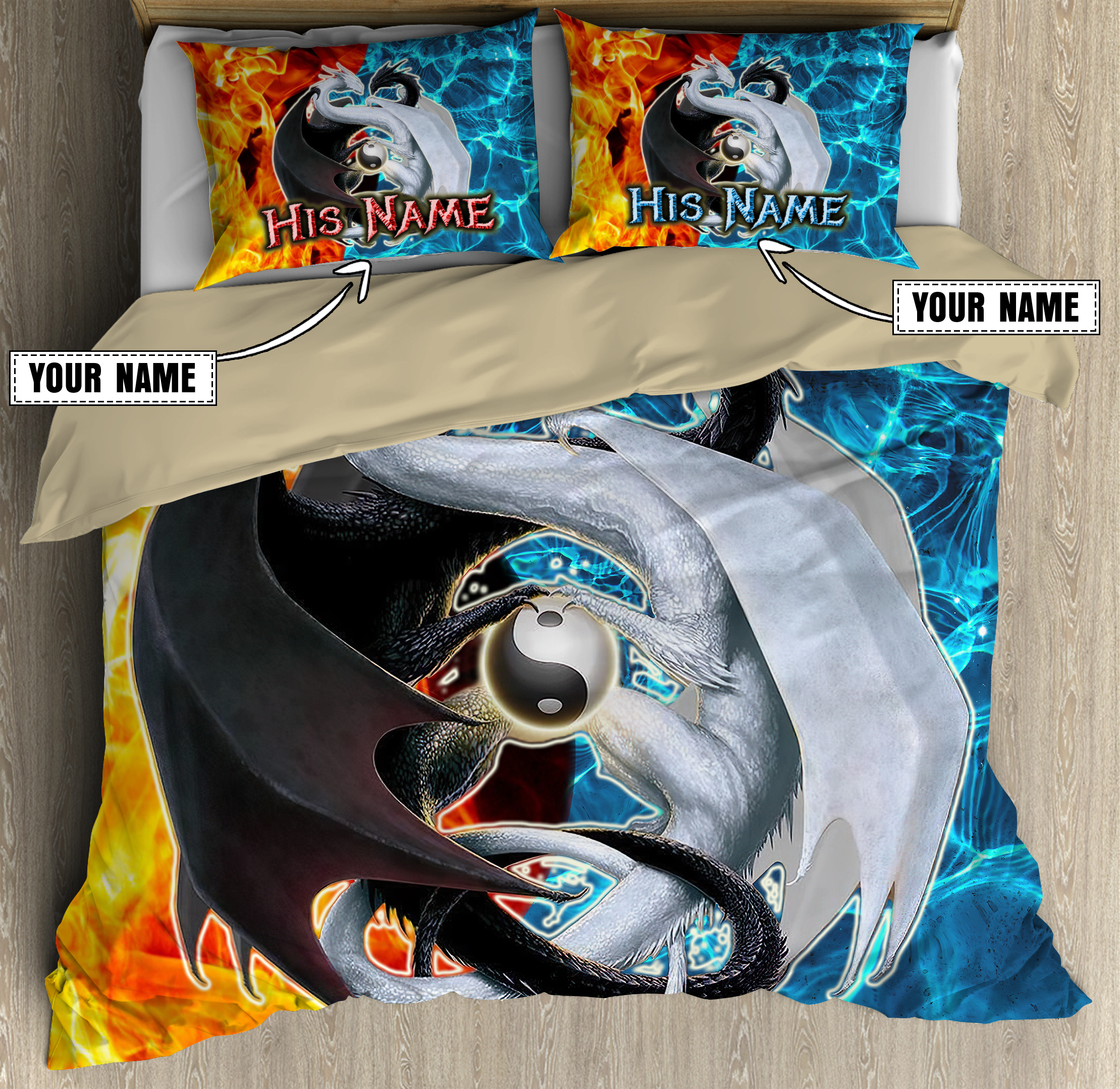 Customize Name Couple Ice And Fire Dragon Bedding Set
