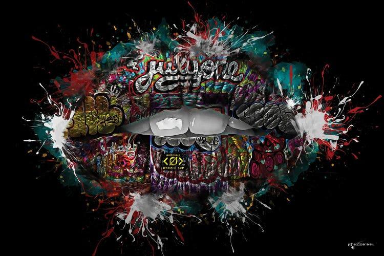 Graffiti Lips Canvas Print