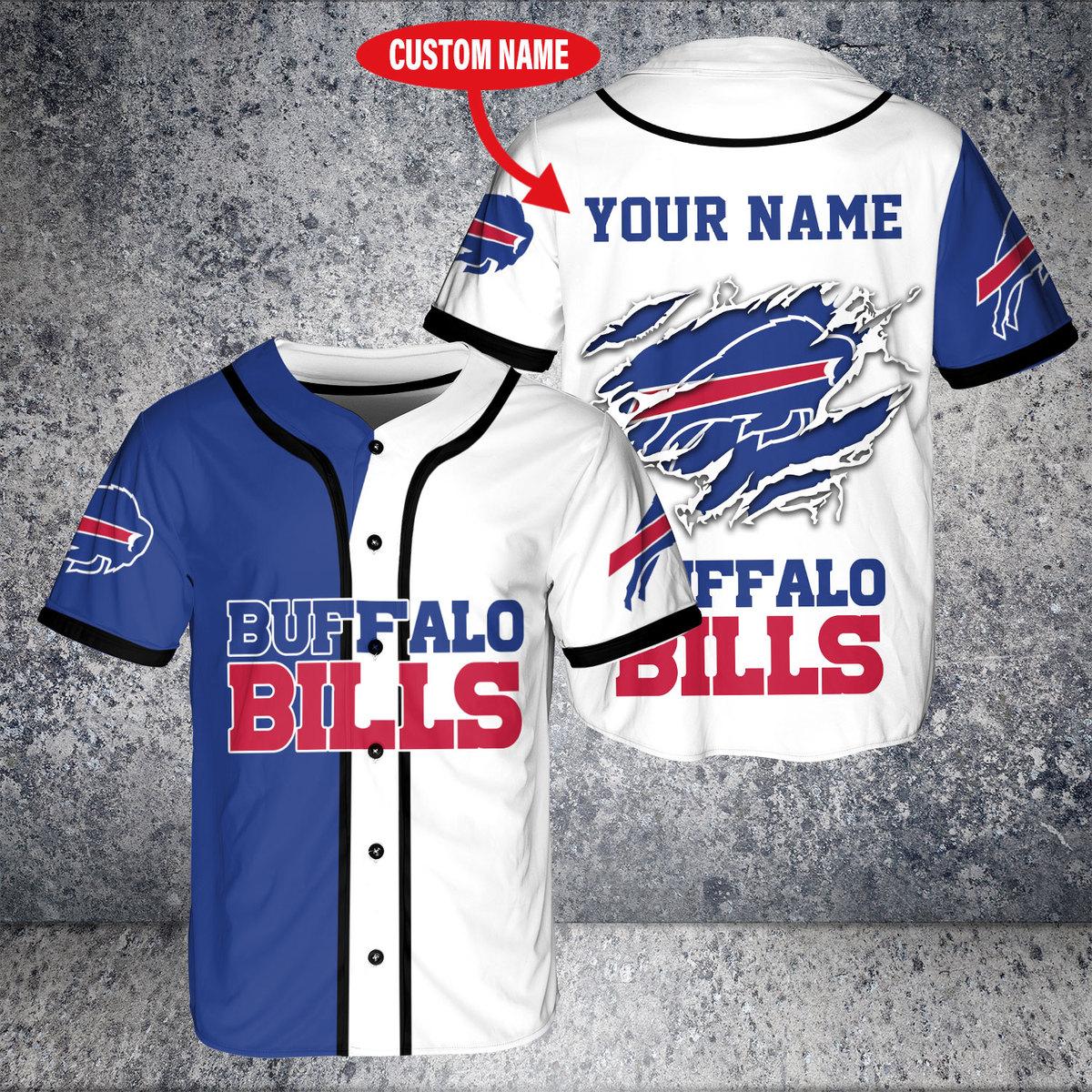 Custom Name NFL Buffalo Bills Baseball Jersey Shirt