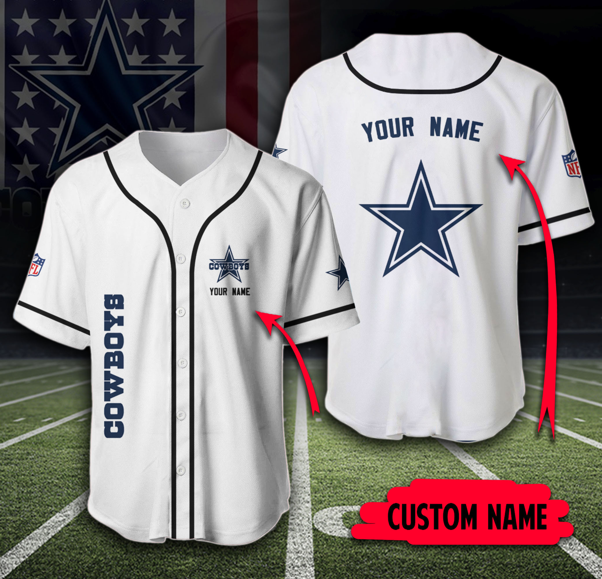 Dallas Cowboys NFL Custome Name white classic Baseball Jersey Shirt