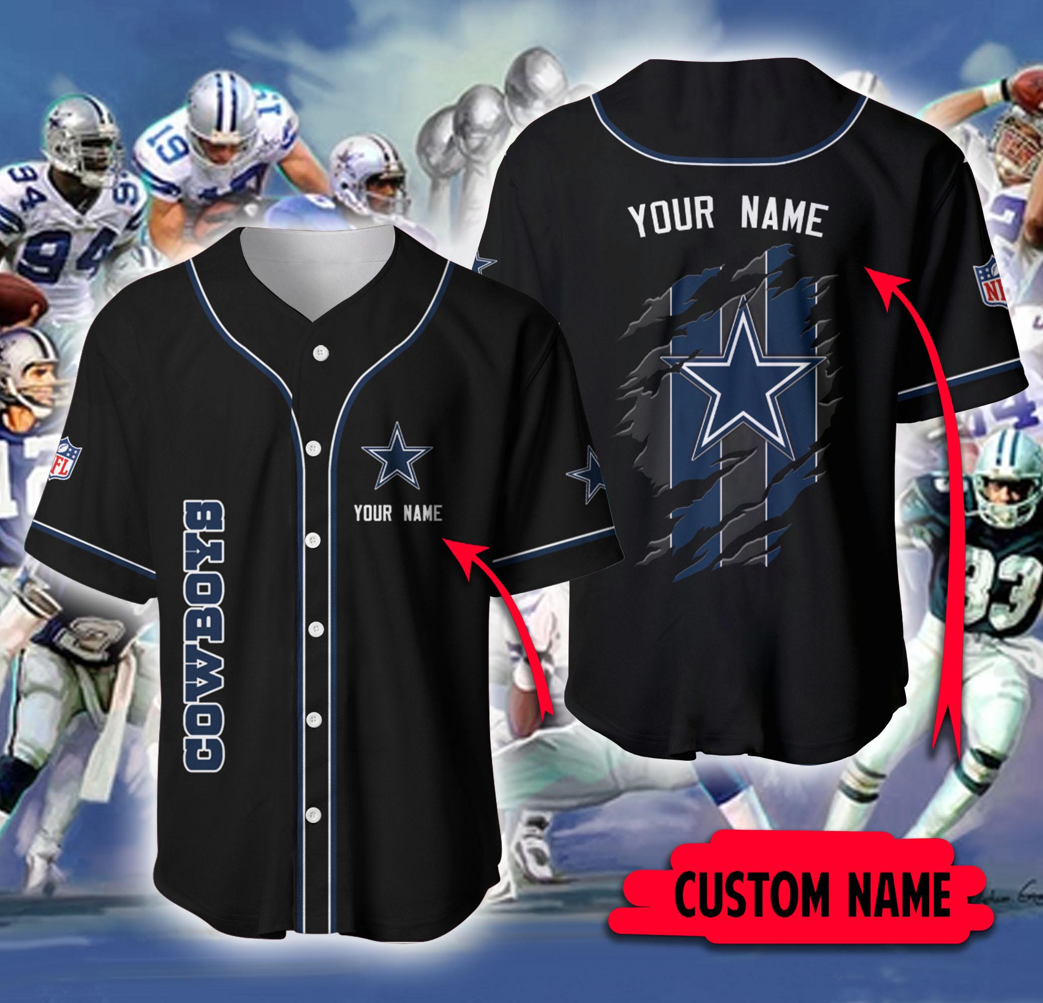 Dallas Cowboys NFL Custome Name black Baseball Jersey Shirt