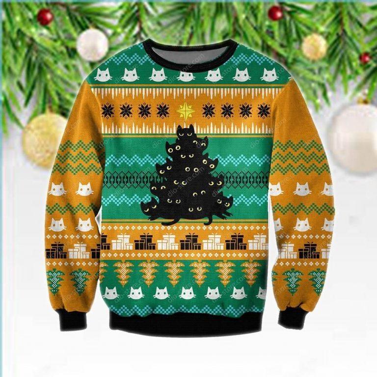 Black Cat Tree Meowy Ugly Christmas Orange Sweater