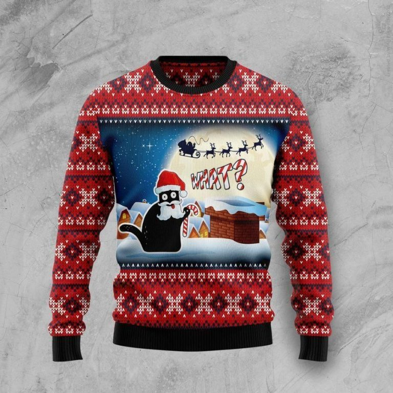 Black Cat What Chimney Ugly Christmas Sweater