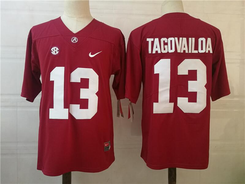 Alabama Crimson Tide 13 Tua Tagovailoa College Football Jersey Red shirt