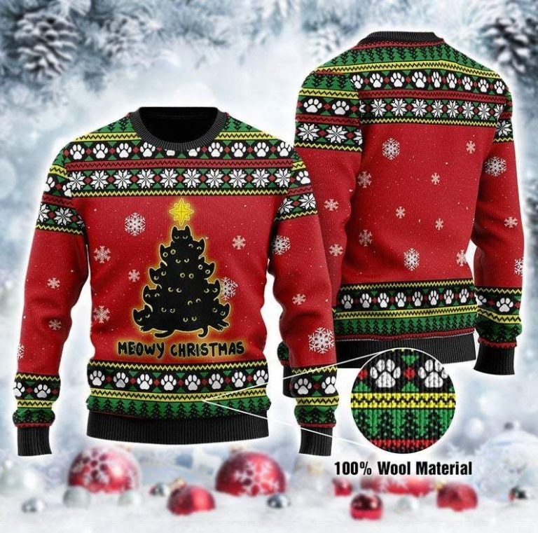 Black Cat Tree Meowy Ugly Christmas red Sweater