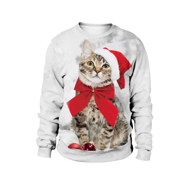 Cat Merry Christmas white Sweater