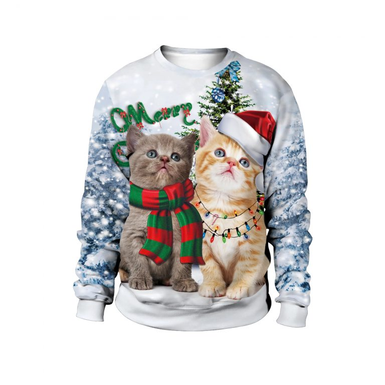 Christmas Cute Cat Pine Tree Sweater