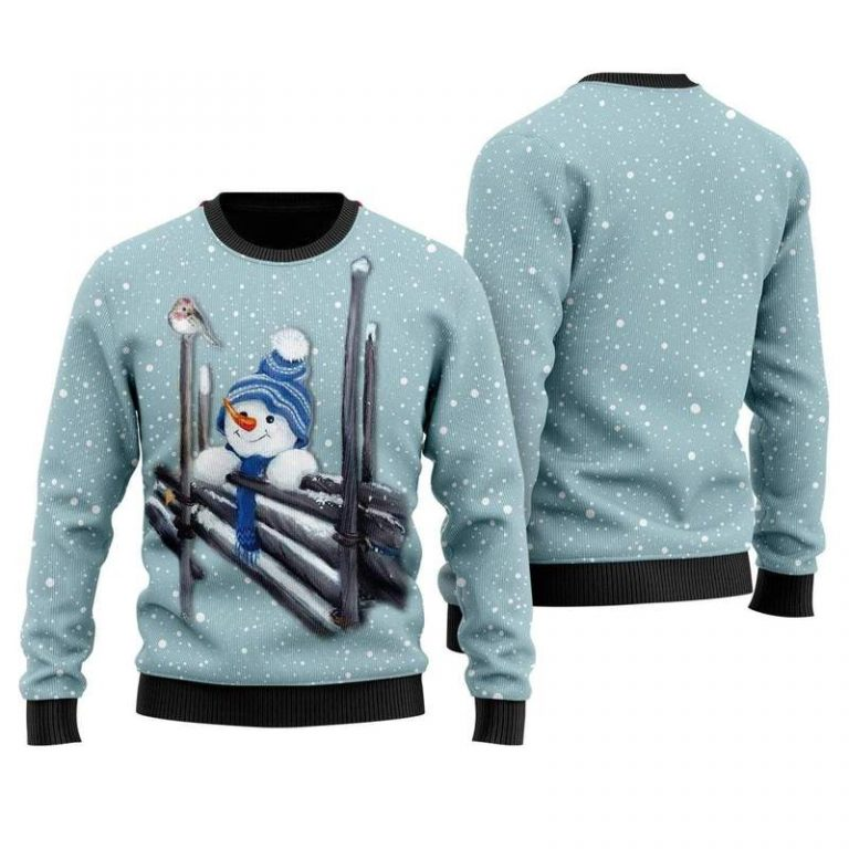 Christmas Snowman Wooden Fences Merry and Bright Sweater