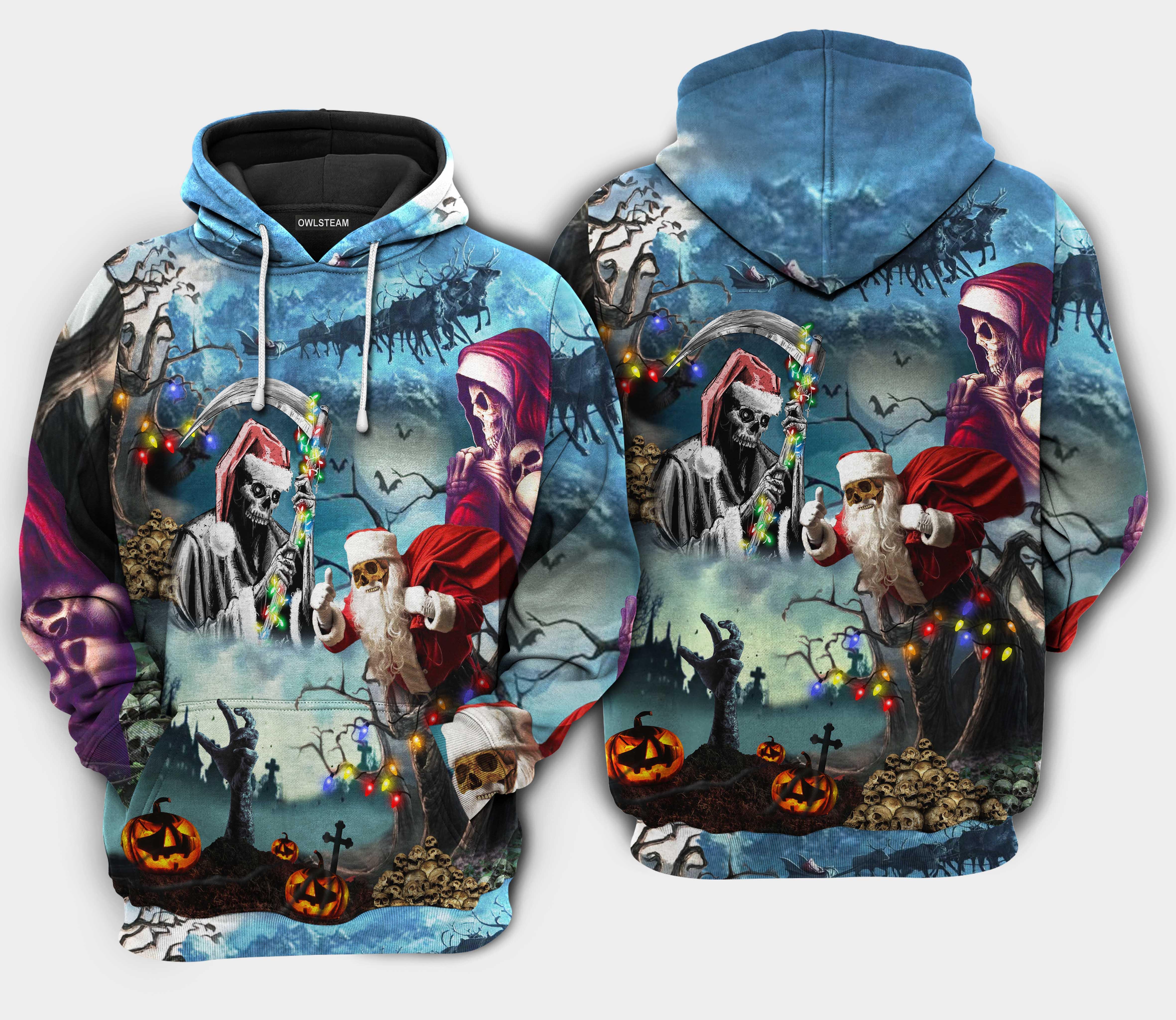 Christmas Santa Claus Skull Hoodie 3D