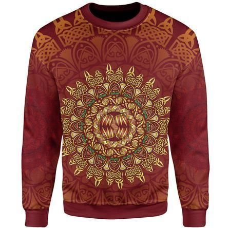 Circle Pattern Ugly Christmas Red Sweater