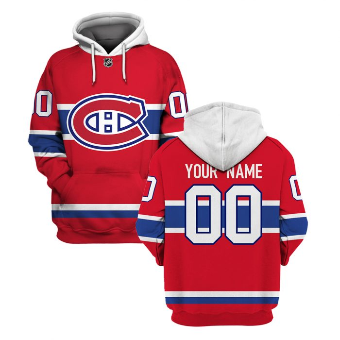 Custom Name Number NHL MONTREAL CANADIENS red 3D Hoodie and T-shirt