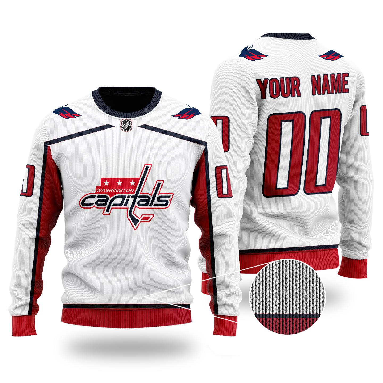Custom Name Number NHL WASHINGTON CAPITALS white sweater