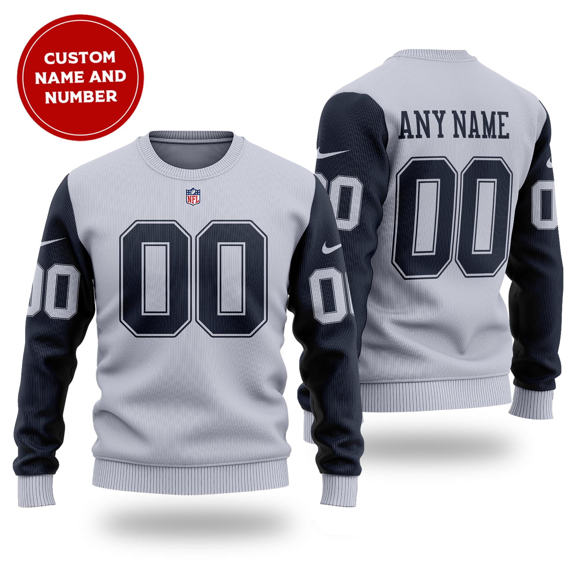 Customized NFL DALLAS COWBOYS grey wool Sweater