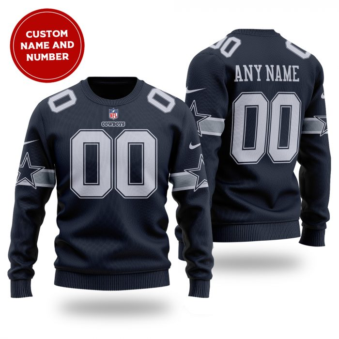 Personalized NFL DALLAS COWBOYS navy wool Sweater