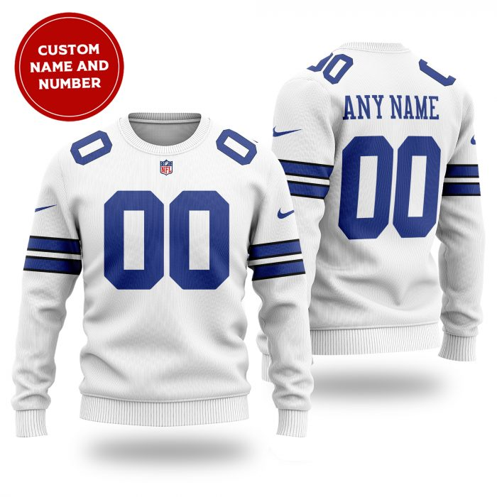 Custom Name Number NFL DALLAS COWBOYS white Sweater