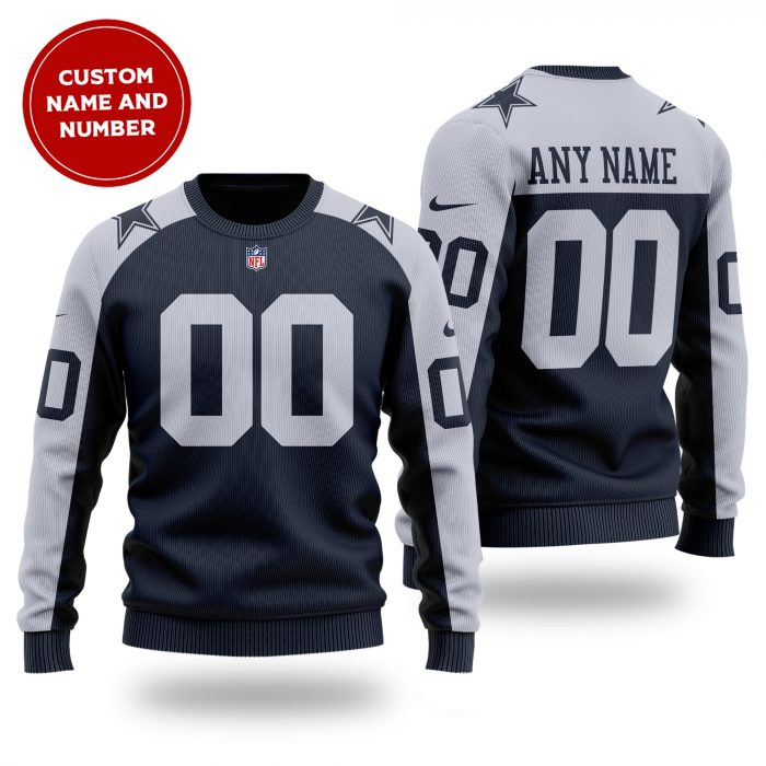 Personalized Name Number NFL Dallas Cowboys Sweater