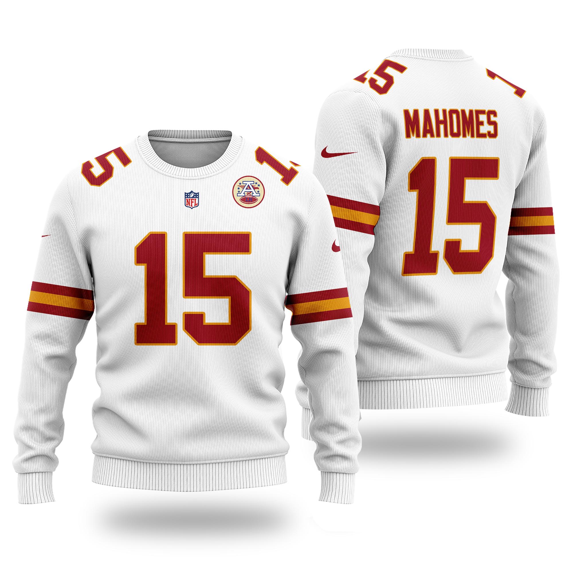 NFL KANSAS CITY CHIEFS Patrick Mahomes 15 white original Sweater