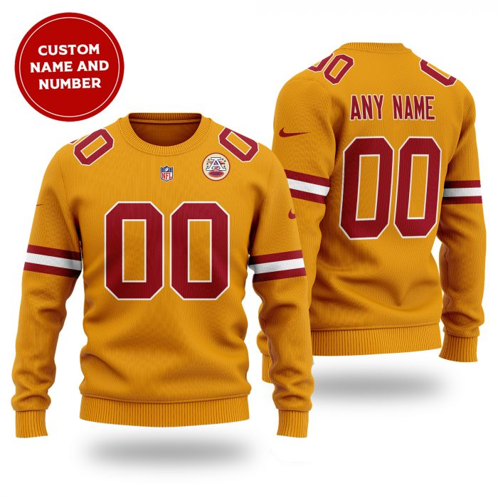 Custom Name Number NFL KANSAS CITY CHIEFS orange Sweater