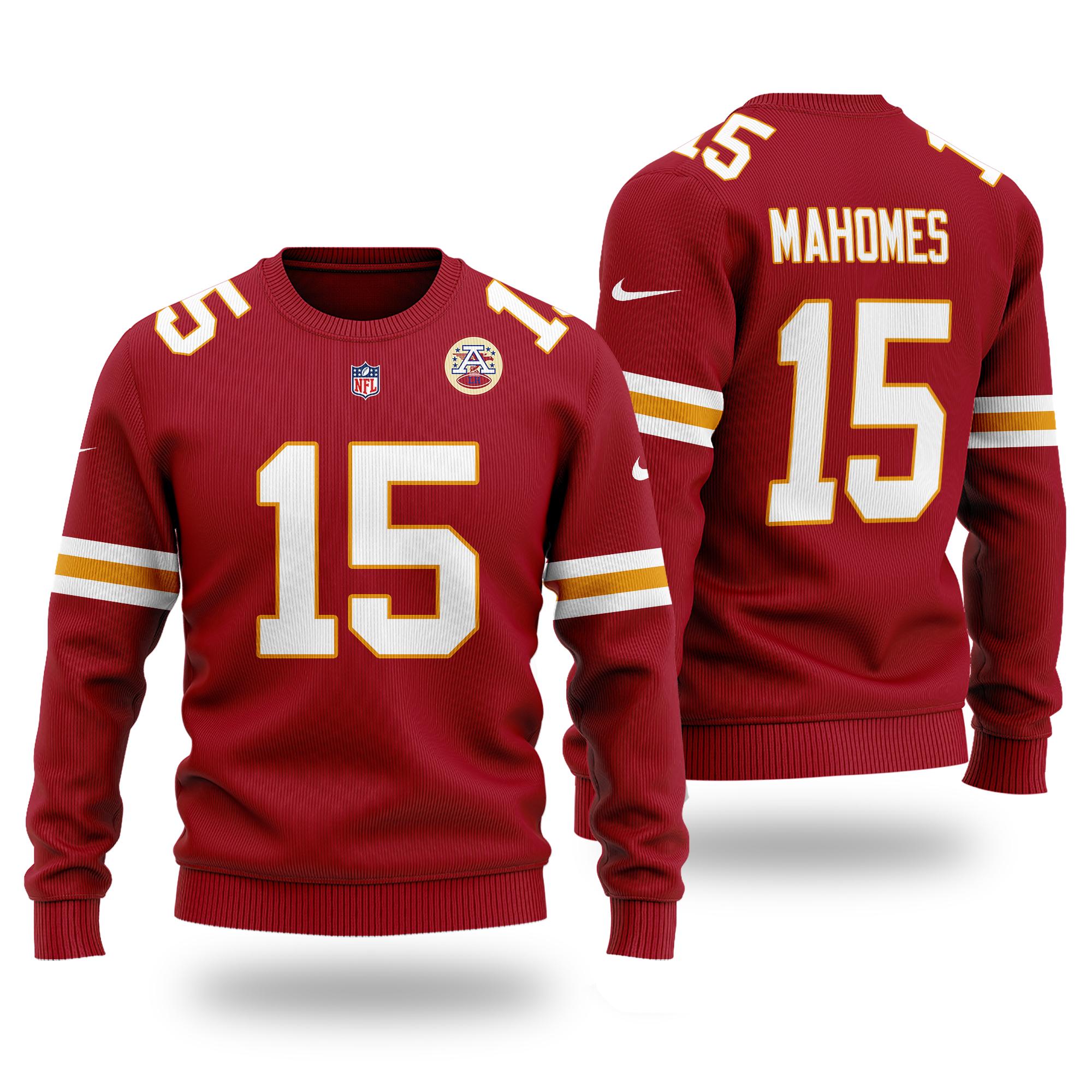NFL KANSAS CITY CHIEFS Patrick Mahomes 15 red Sweater