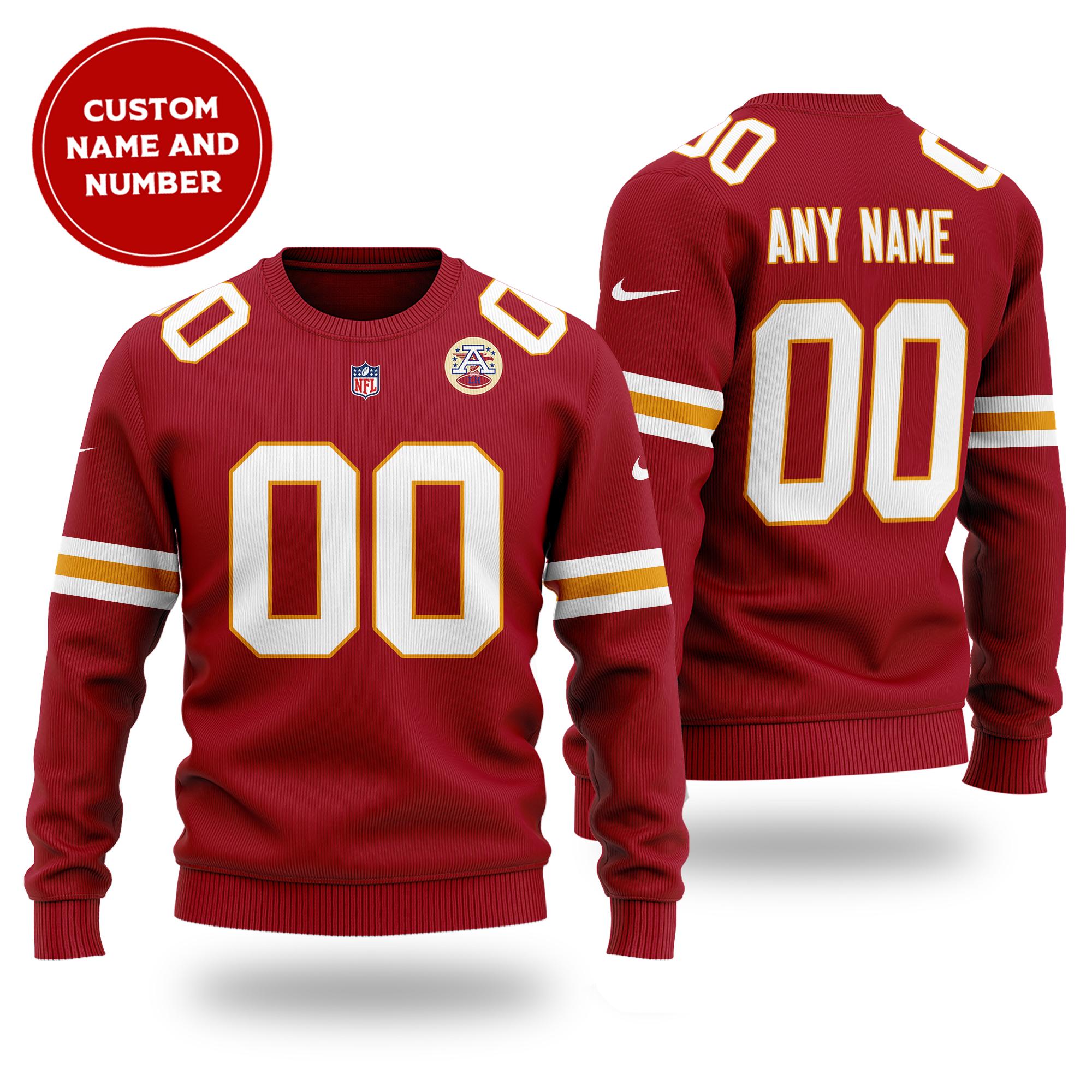 Customized NFL KANSAS CITY CHIEFS red wool Sweater