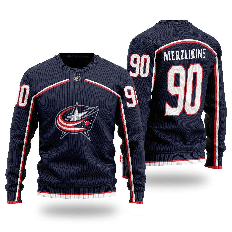 NHL BLUE JACKETS Merzlikins 90 Wool dark color Sweater