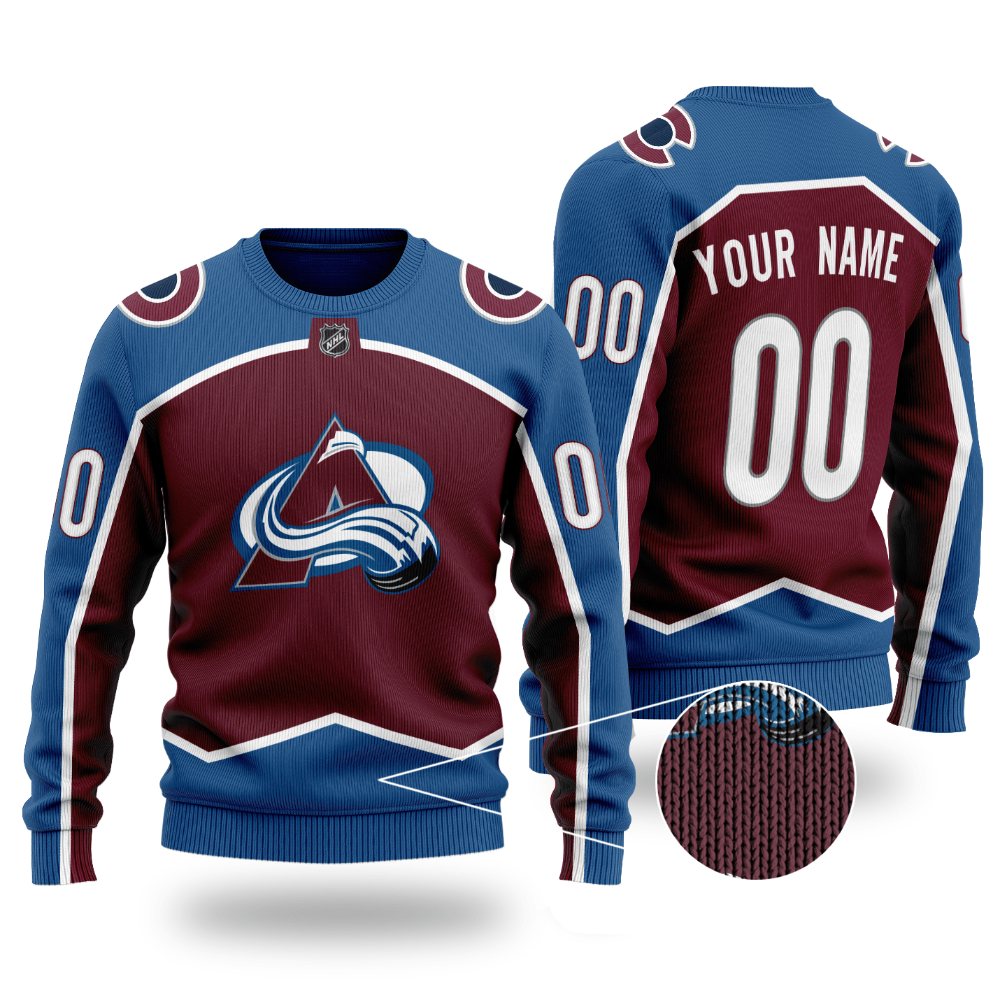 Custom Name Number NHL COLORADO AVALANCHE plum color Sweater