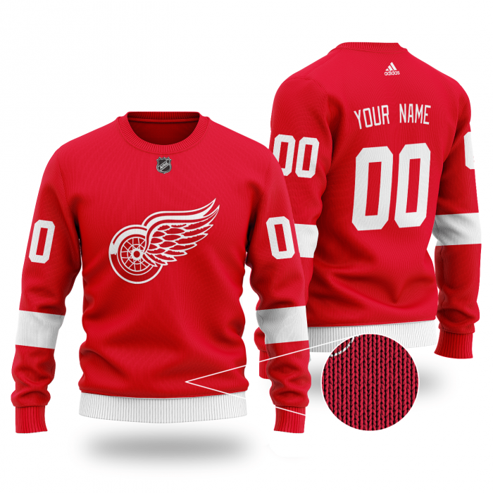 Custom Name Number NHL DETROIT RED WINGS red Sweater