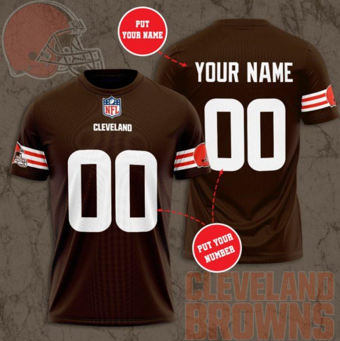 Custom Name Number NFL CLEVELAND BROWNS 3D T-shirt