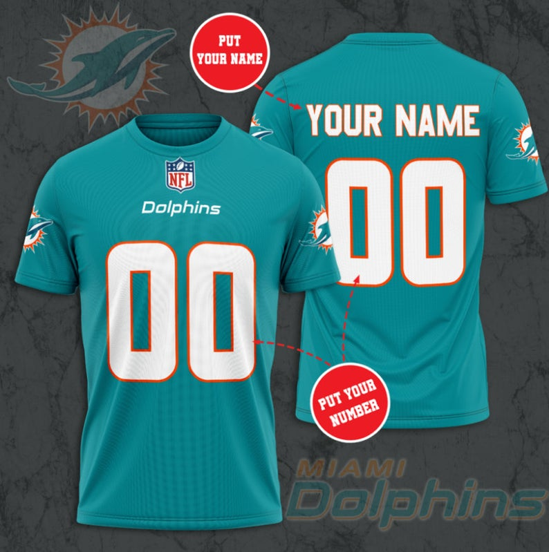 Custom Name Number NFL MIAMI DOLPHINS 3D T-shirt