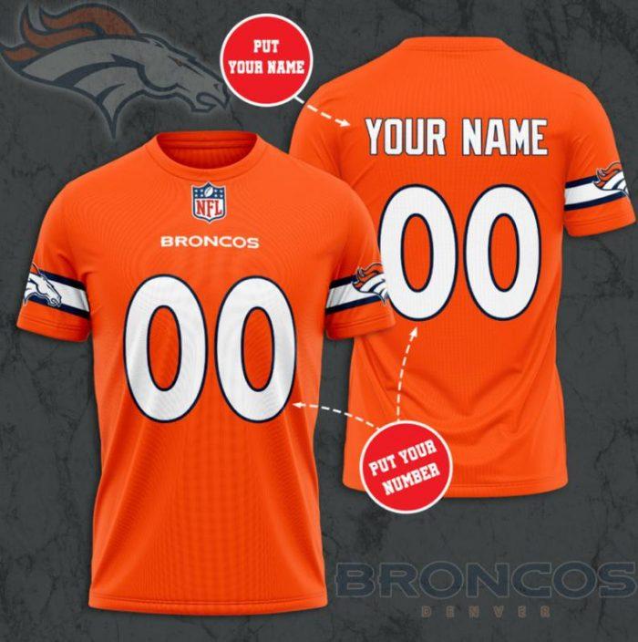 Custom Name Number NFL DENVER BRONCOS 3D T-shirt