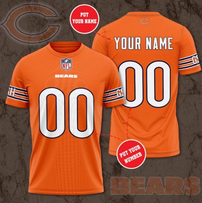 Custom Name Number NFL CHICAGO BEARS orange 3D T-shirt