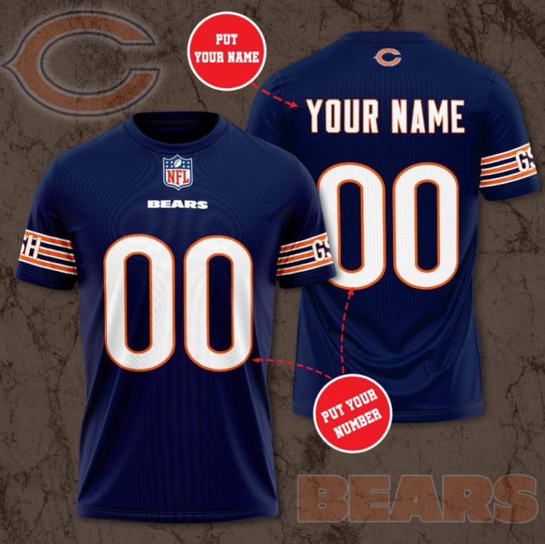 Custom Name Number NFL CHICAGO BEARS 3D navy T-shirt