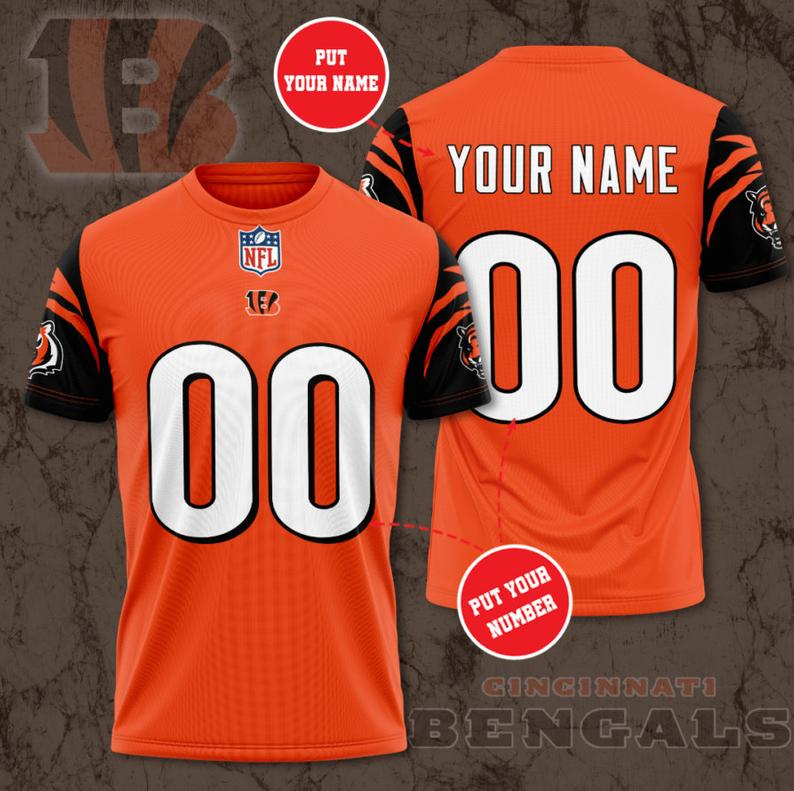 Custom Name Number NFL CINCINNATI BENGALS orange 3D T-shirt