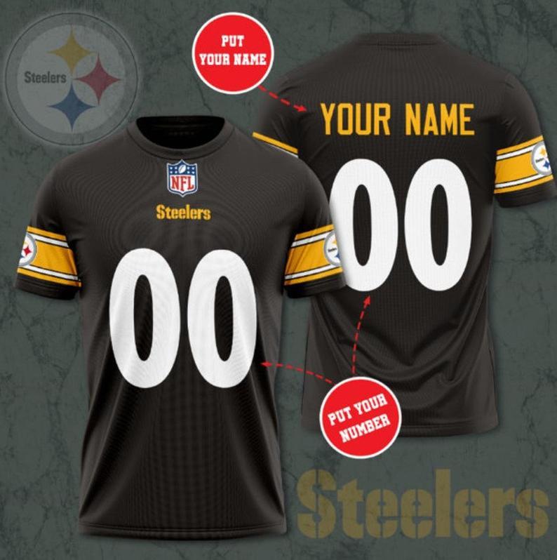 Custom Name Number NFL PITTSBURGH STEELERS 3D T-shirt