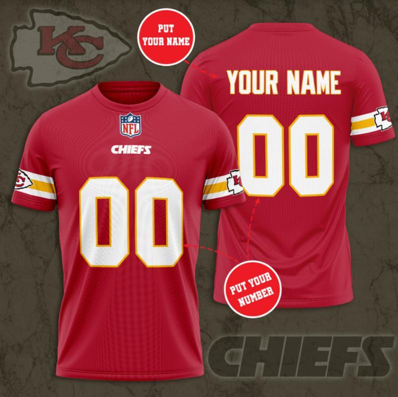 Custom Name Number NFL KANSAS CITY CHIEFS 3D T-shirt