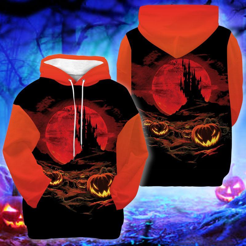 Halloween Red Moon Devil Pumpkin Hoodie 3D Trick or Treat