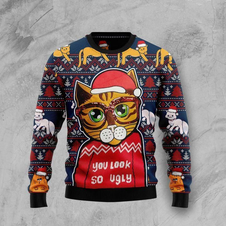 Cat look so ugly Christmas Sweater
