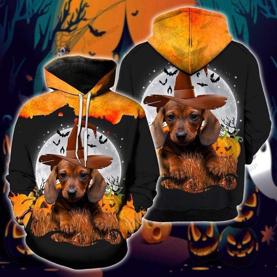 Halloween Dachshund Lover Hoodie 3D