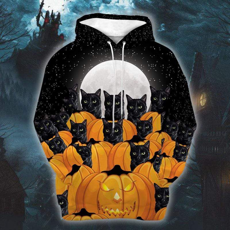 Halloween Pumpkin Black Cat Hoodie 3D
