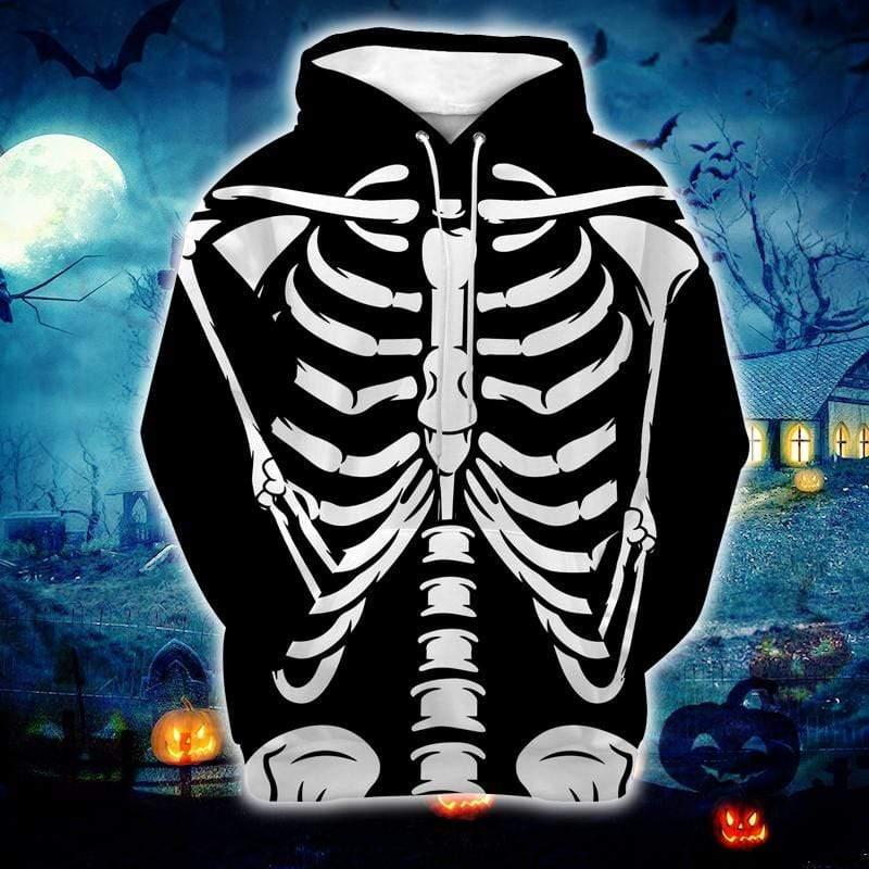 Skeleton Rib Bones Halloween Hoodie 3D