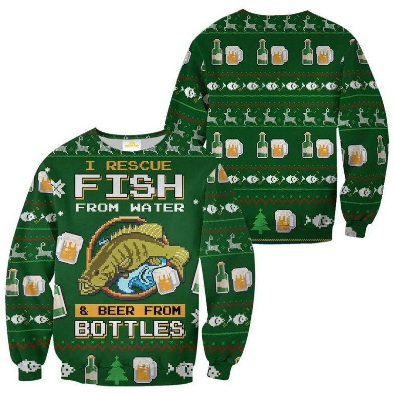 Fishing beer Rescue fish from water Ugly Christmas Sweater