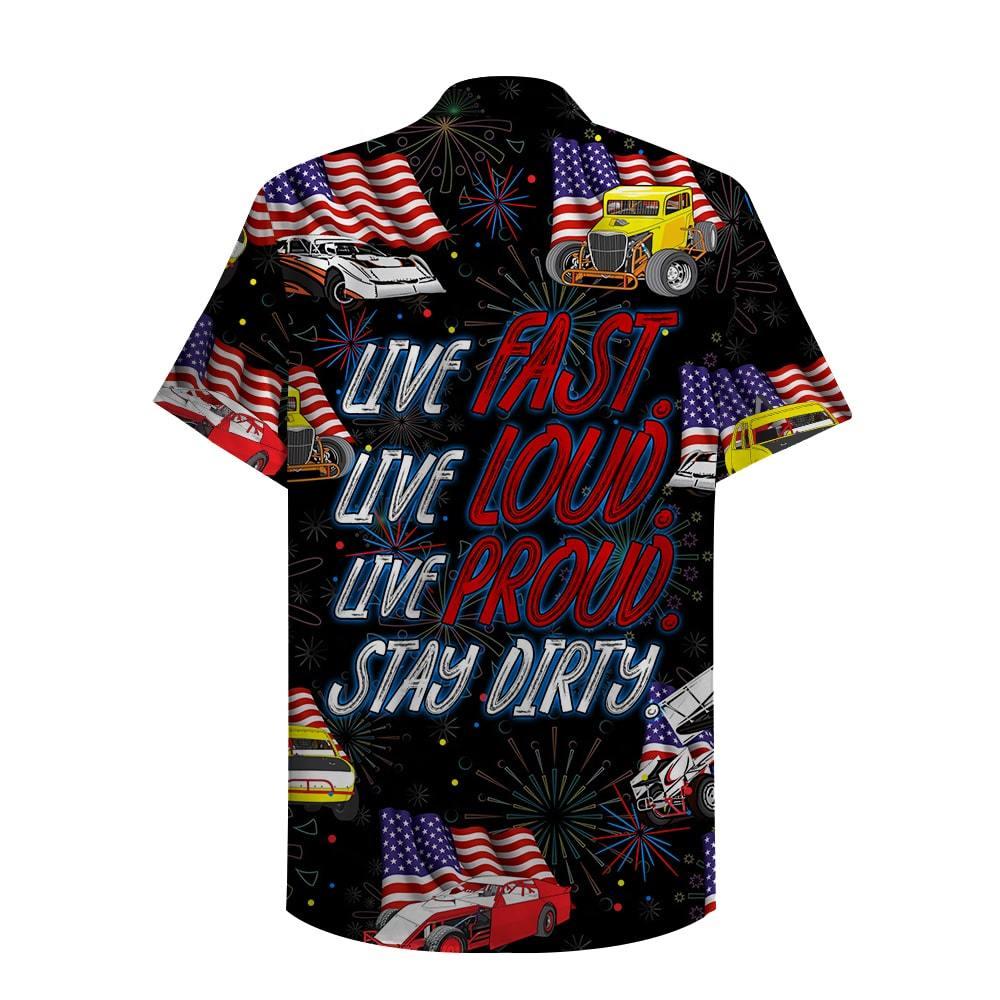 Dirt Track Racing Live fast loud proud stay dirty Hawaiian Shirt