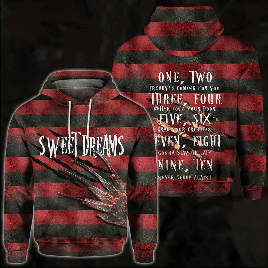 Sweet Dream Freddy Krueger red stripeline Hoodie