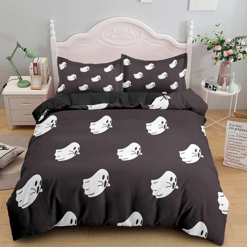 Halloween Cute Ghosts black Bedding Set